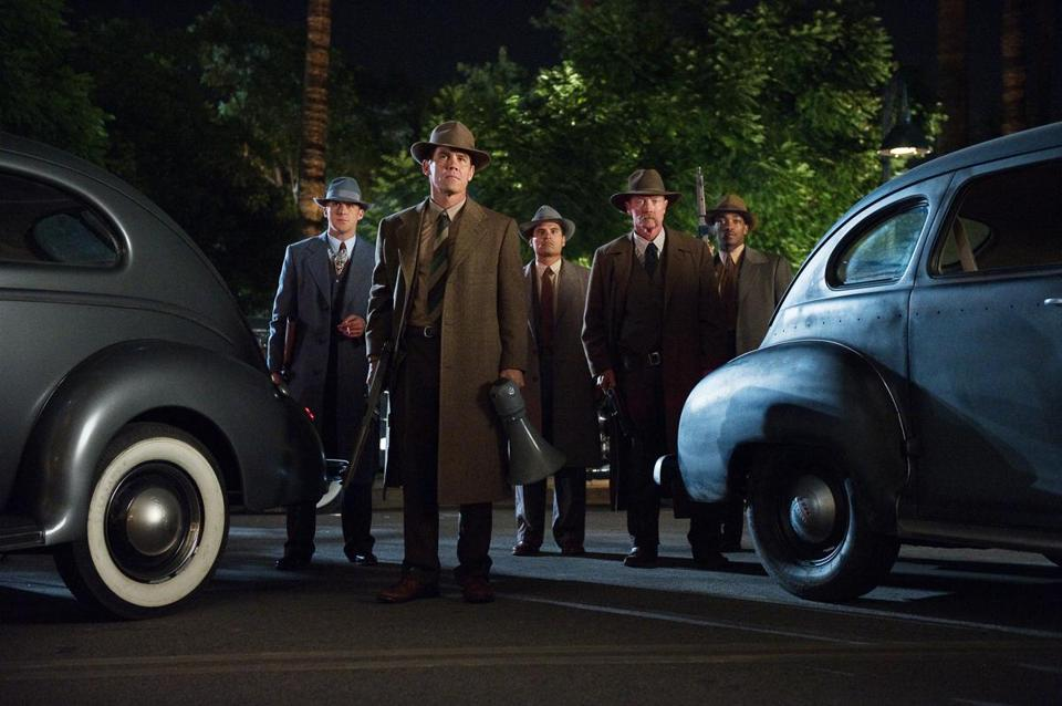 "From left: Ryan Gosling, Josh Brolin, Michael Pena, Robert Patrick, and Anthony Mackie in ""Gangster Squad."""