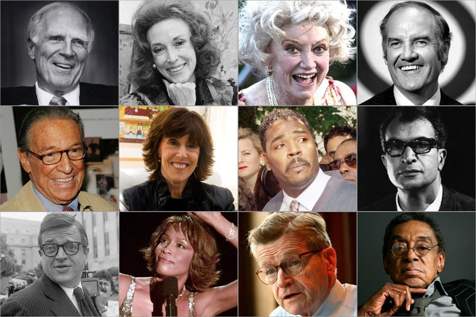 Top row: Kevin White, Helen Gurley Brown, Phyllis Diller, George McGovern. Middle: Mike Wallace, Nora Ephron, Rodney King, Dave Brubeck. Bottom: Chuck Colson, Whitney Houston, John Silber, Don Cornelius.