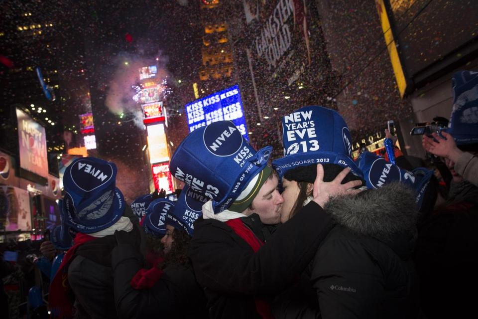 Jeremy Turnmeyer and Emily Mae Billington of Wisconsin rang in the new year with a kiss in New York's Times Square.