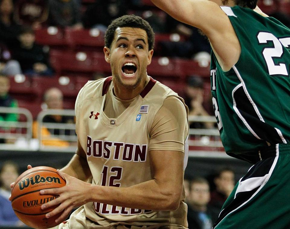 Boston College center Ryan Anderson sees a first-half scoring opportunity while being guarded by Dartmouth's John Golden.