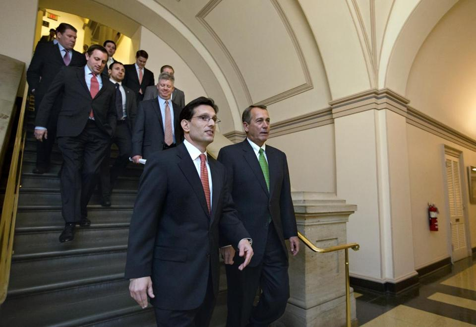 GOP members led by Eric Cantor of Virginia and John Boehner of Ohio headed toameeting to discuss the fiscal cliff deal.