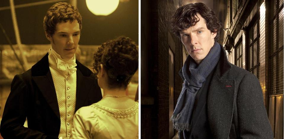"Benedict Cumberbatch in ""To the Ends of the Earth"" (left) and in ""Sherlock."""