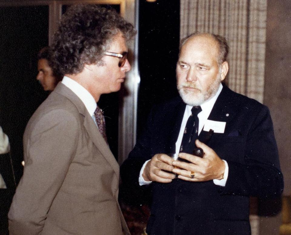 "Ken Taylor (left) with John Sheardown, key figures during the 1979 hostage crisis. The story was retold in ""Argo."""