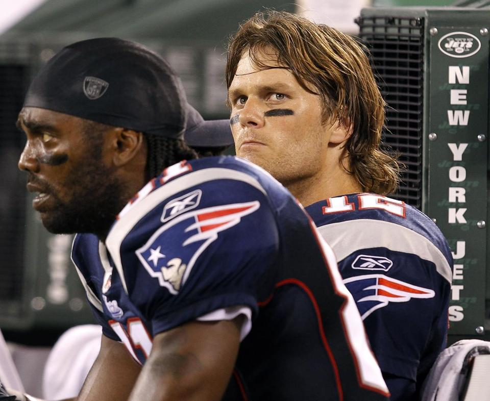 An unhappy Tom Brady said near Randy Moss after bring stripped of the ball by the Jets late in the game.