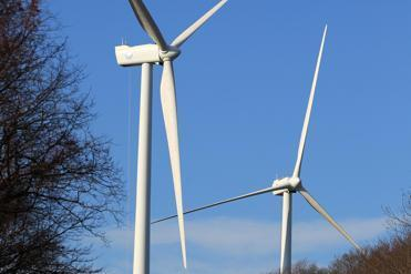 A view of two turbines at Gloucester Engineering that will provide power to the city's municipal buildings and schools.