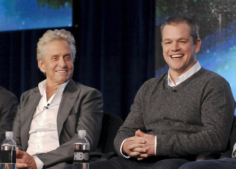 Michael Douglas and Matt Damon at the Television Critics Association press tour in Pasadena, Calif., on Friday.