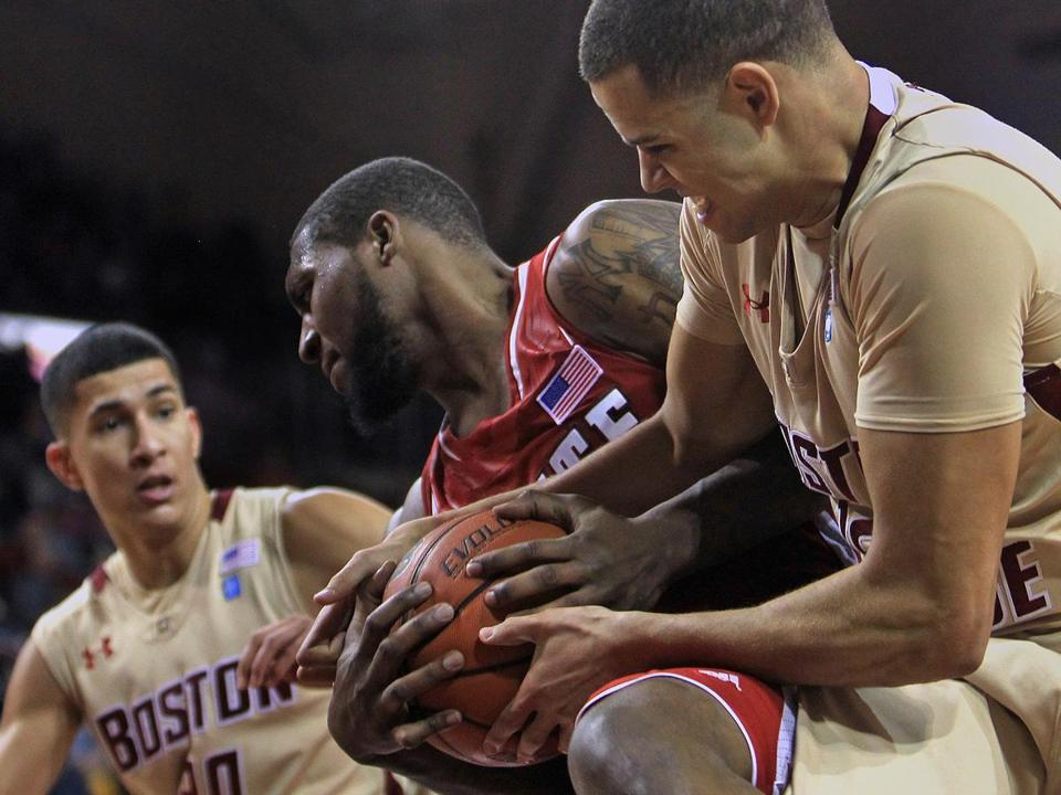 BC's Ryan Anderson (right) battles Richard Howell of N.C. State for a late rebound.