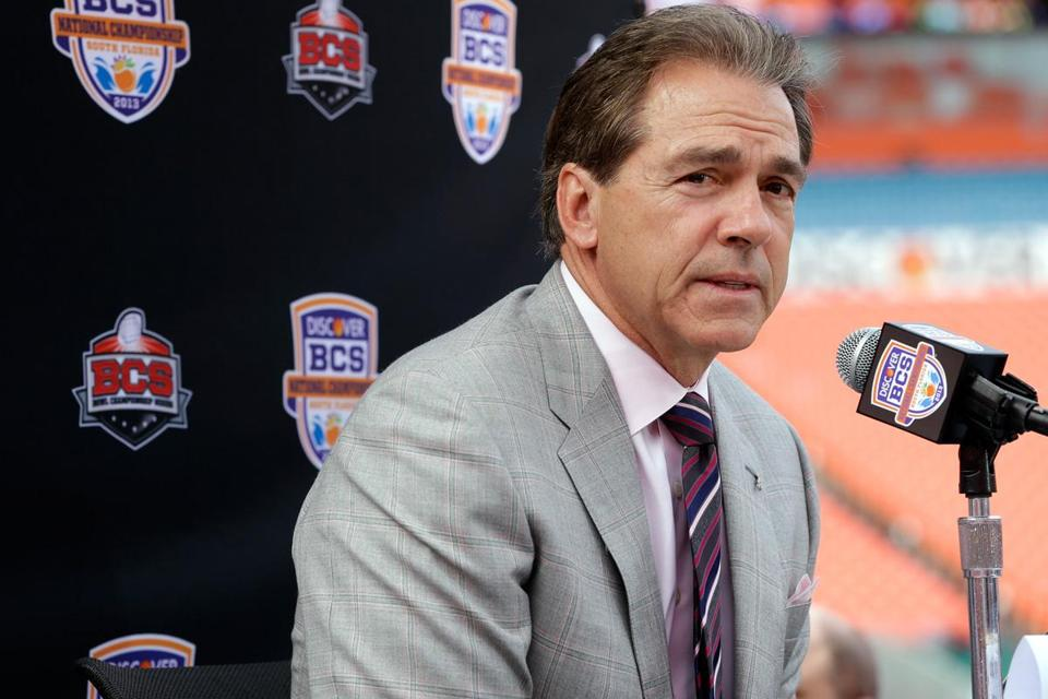 Coaches Nick Saban (above) and Brian Kelly met with the media two days before the BCS championship game. The SEC is trying to claim the title for the seventh straight year.