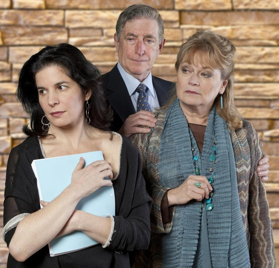 "Anne Gottlieb (left), Munson Hicks, and Karen MacDonald star in the New England premiere of ""Other Desert Cities."""