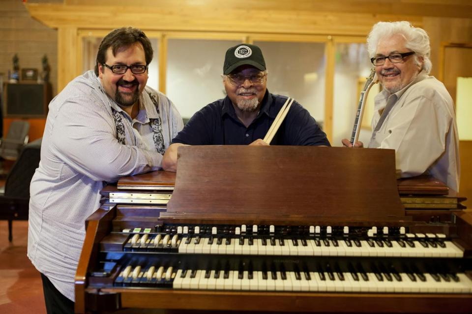 """I love these guys. . . . They still have a lot to talk about on their instruments,"" says keyboardist Joey DeFrancesco (left) about his trio mates and jazz greats drummer Jimmy Cobb (center) and guitarist Larry Coryell."