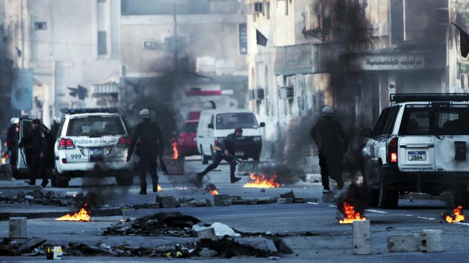 Protesters clashed with police Monday in Malkiya village, Bahrain. Authorities accuse Iran of encouraging protests.