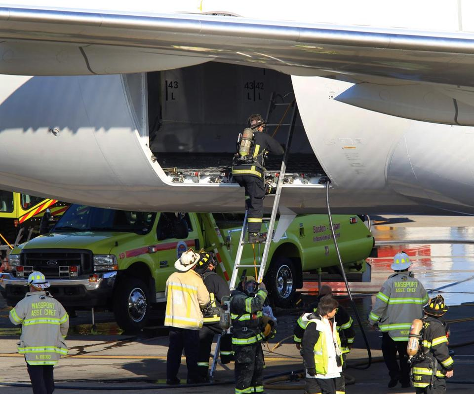 Fire broke out on Jan. 7 in a Boeing 787 Dreamliner parked at Logan airport's terminal E.