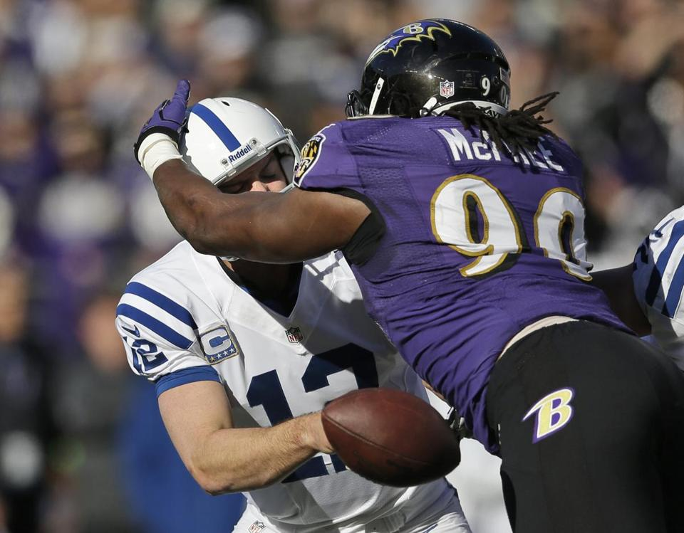 Baltimore's Pernell McPhee got into the head of Andrew Luck, causing the Colts rookie quarterback to fumble.