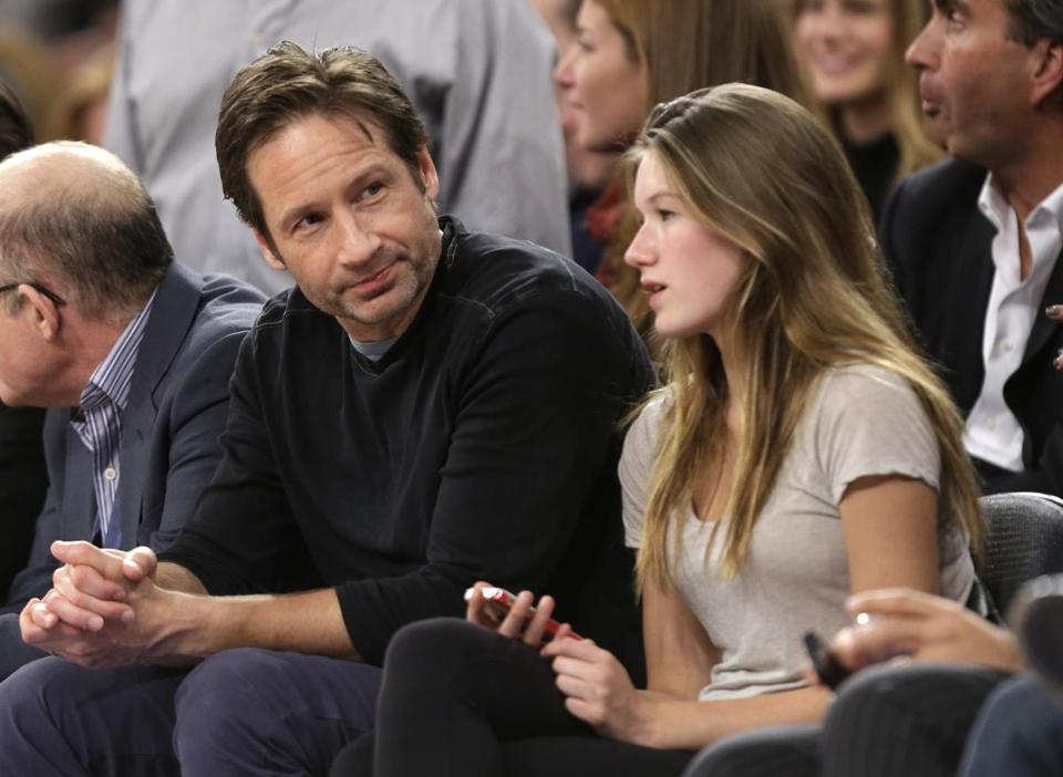 Actor David Duchovny and daughter Madelaine courtside.