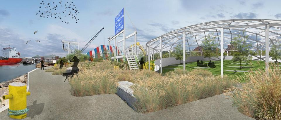 An artist's rendering of the amphitheater envisioned for the future PORT park in Chelsea.