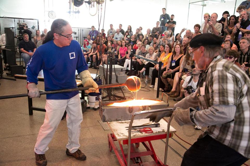 A hot casting demonstration at last year's Glass Art Society Conference in Toledo, Ohio.
