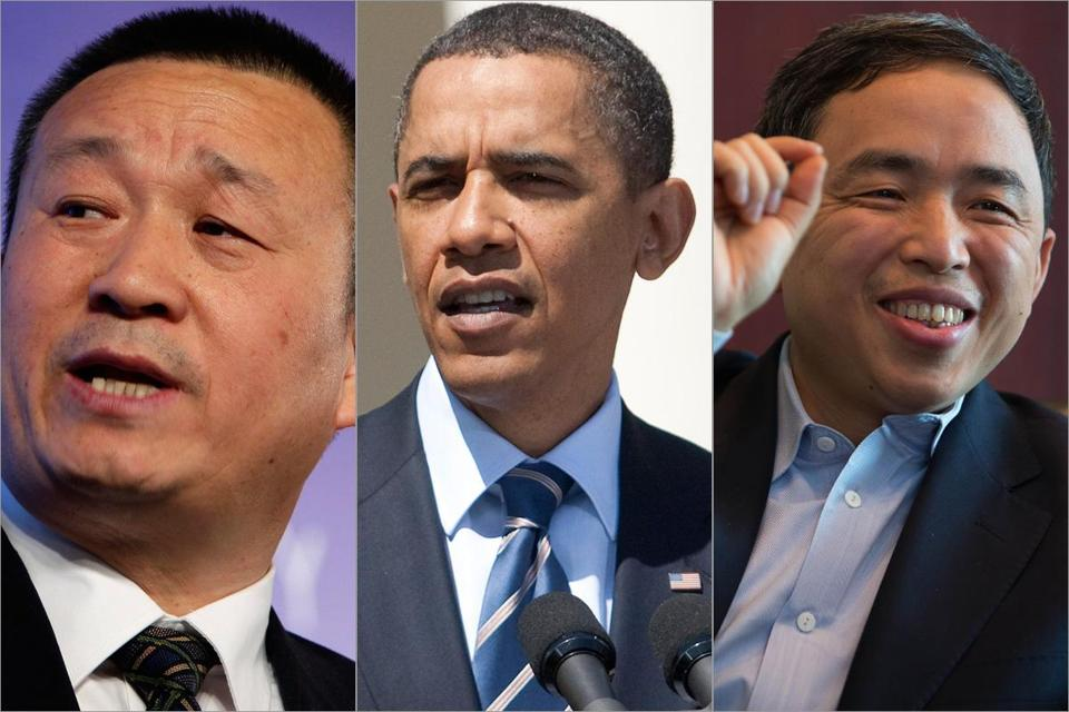 In September, President Obama ordered China's Ralls Corp., led by Wu Jialiang (left), to drop interest in wind farm projects near a Navy base. But Wanxiang America president Pin Ni (right) appears confident that his company will get the OK to buy A123 Systems.