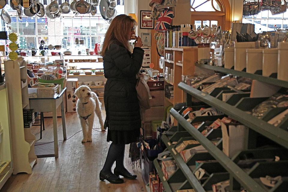 Joanna Marsden browsed at The Concord Shop on Wednesday. The cookware shop was among those to report disappointing holiday sales.