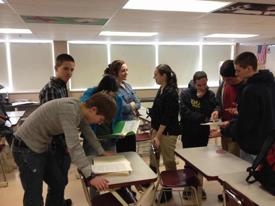 Members of the Old Rochester Regional High School's inaugural mock trial team getting ready for practice session after school.