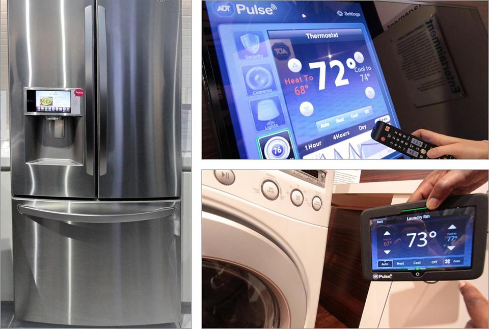 At this year's Consumer Electronics Show in Las Vegas are appliances that can communicate with each other, such as this LG refrigerator or ADT's Pulse, which offers smart TV controls.