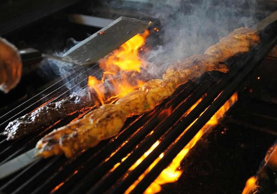 Beef and chicken at Roksana's Persian Foods in Watertown are grilled fresh for orders at the take-out only business.