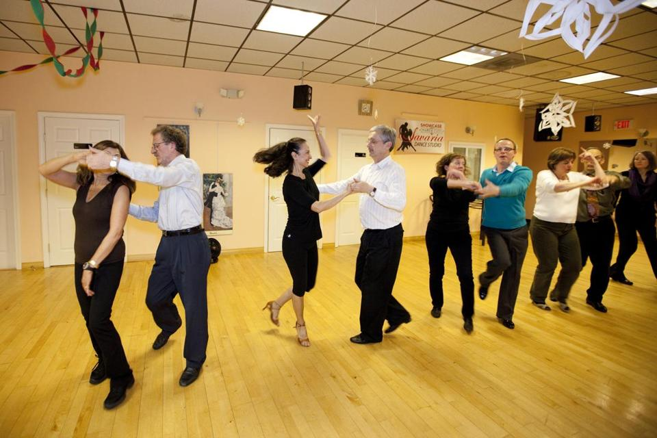 Students Take A Swing Dance Lesson At Savaria Studio In Norwood Many Say They
