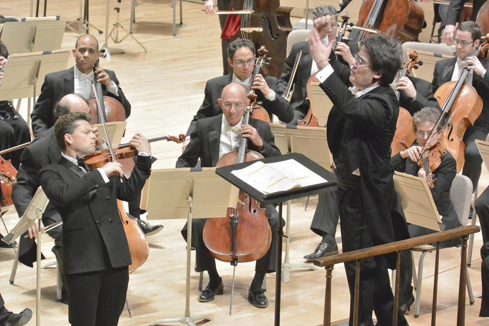 Performing at Symphony Hall, violinist Julian Rachlin, conducted by Alan Gilbert leading the Boston Symphony Orchestra in the first concert of 2013.