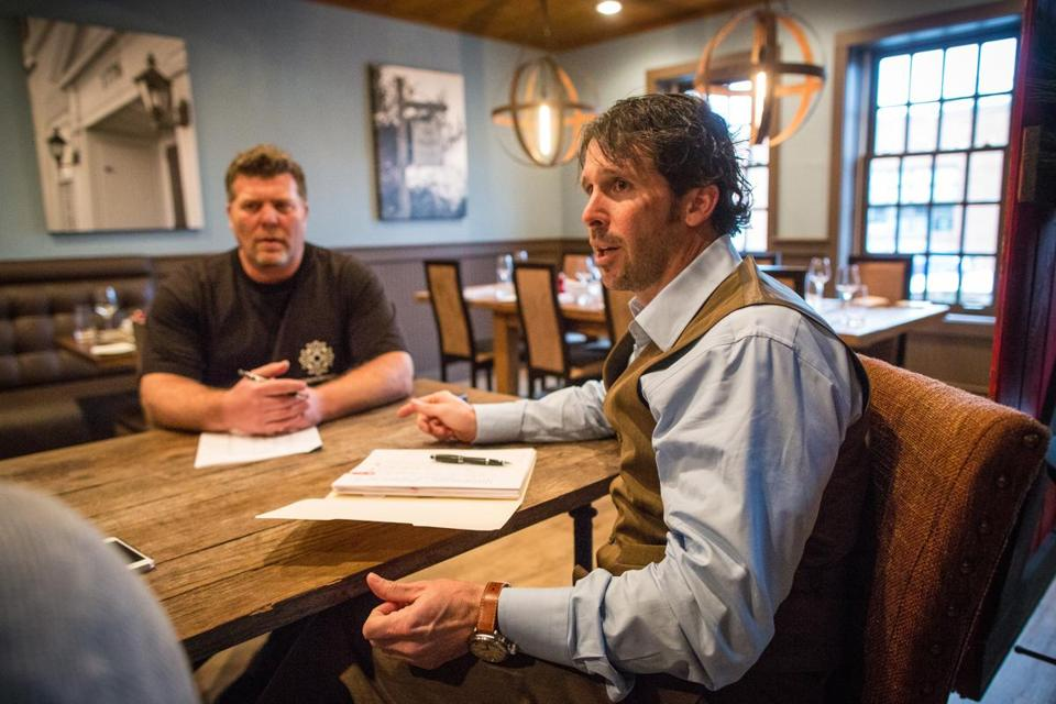 Brian Lesser (left) and Marcus Palmer are co-owners of Vine Brook Tavern in Lexington, new on the upscale dining scene.