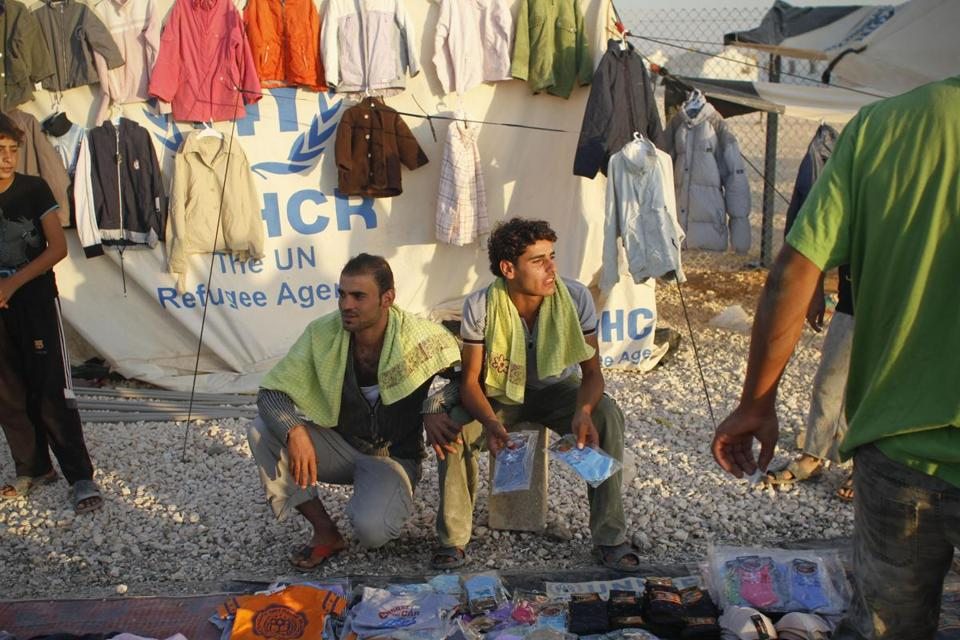 Some men sold clothes to fellow refugees in the Zaatari camp. It is one of the largest camps for Syrians in the region.