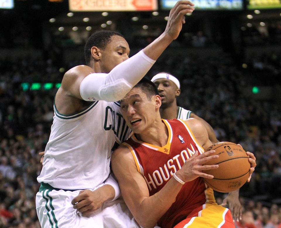 Jeremy Lin of the Rockets can't turn the corner on the Celtics' Jared Sullinger.