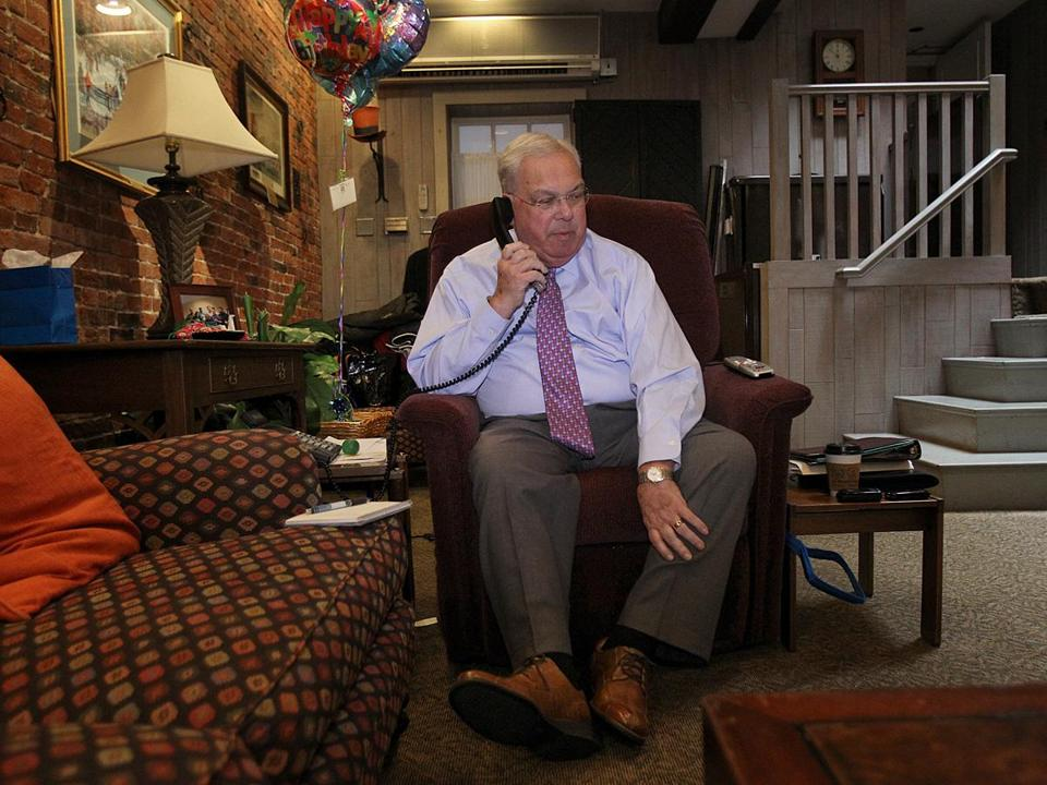 Mayor Thomas Menino has all the comforts of home at the Parkman House, including his favorite chair.