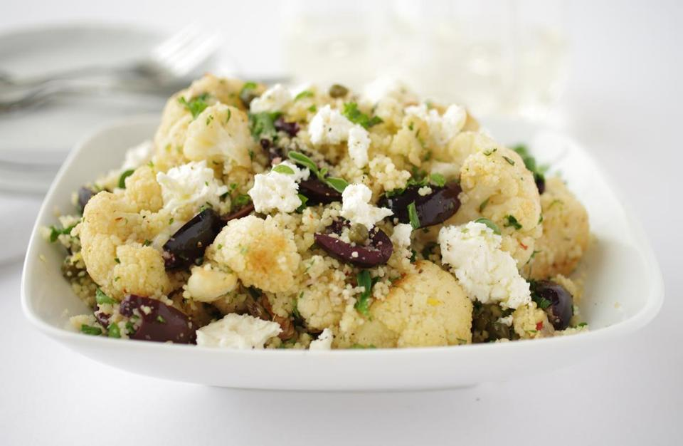 Couscous salad with roasted cauliflower and feta.