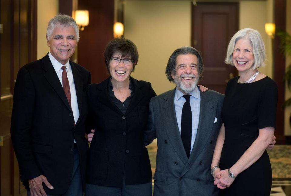 From left: Architects Ricardo Scofidio and Elizabeth Diller with Ron Druker and Amy Ryan, president of the Boston Public Library.