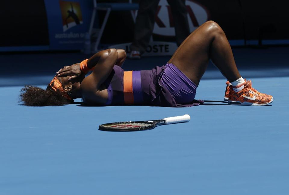 Serena Williams tumbled to the court and needed a medical timeout in the first set for treatment on her right ankle.
