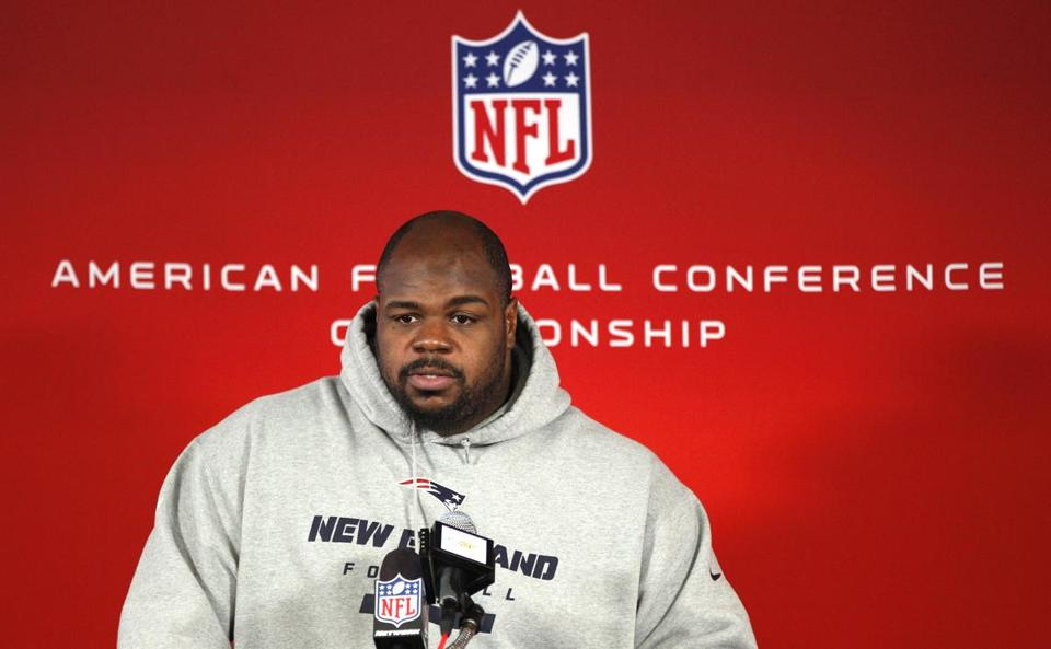 Vince Wilfork spoke with reporters on Wednesday at Gillette Stadium.