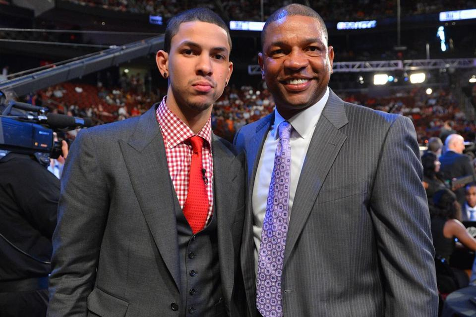 Doc Rivers (right) was a proud papa at last year's NBA draft, where his son Austin was selected 10th overall by the Hornets after a standout freshman season at Duke.