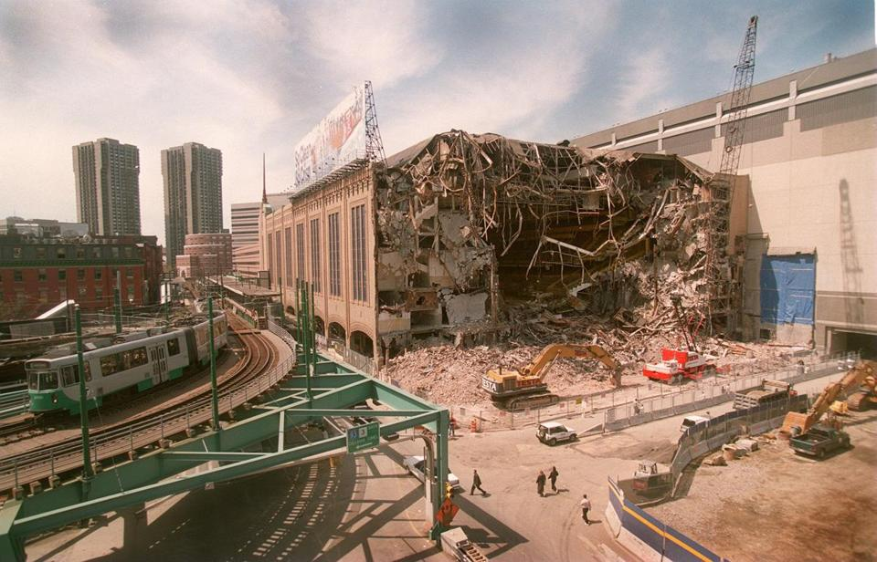 The demolition of the Boston Garden in 1998 and the elevated Green Line tracks.