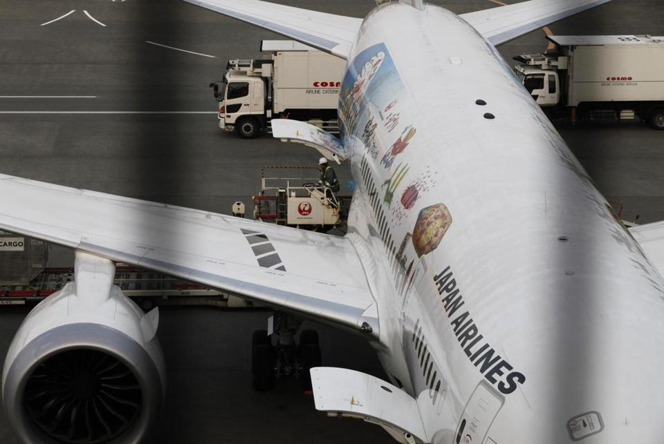 A crewworks near a Japan Airlines' Boeing 787 at the international airport near Tokyo earlier this month.