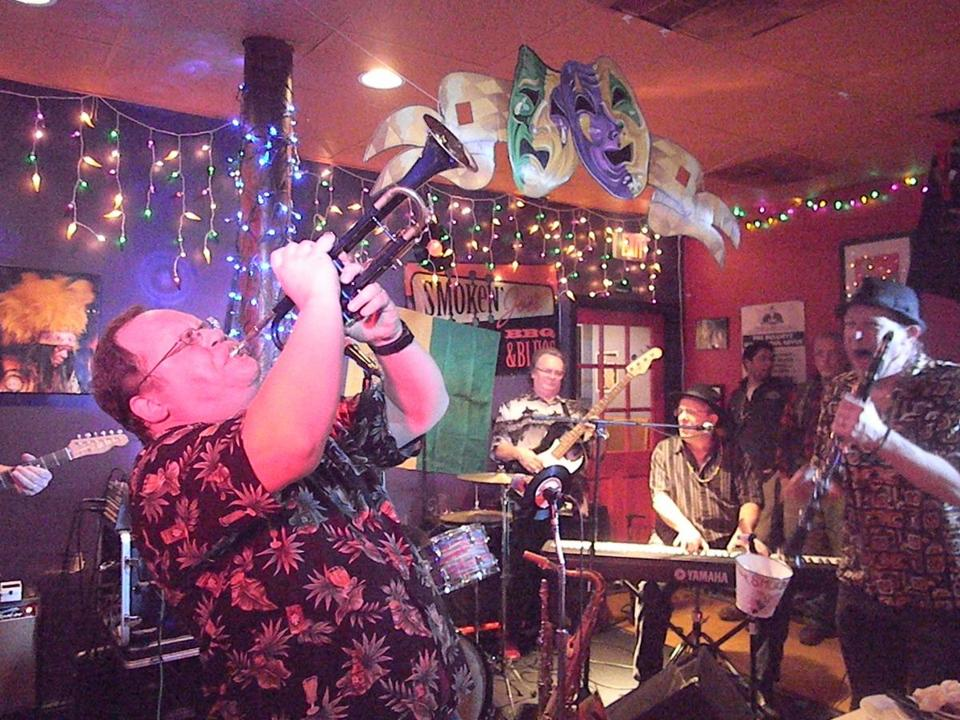 Johnny Blue Horn and Scott Shetler at the Three Week Mardi Mardi Gras Celebration at Smoken Joe's BBQ and Blues in Brighton.