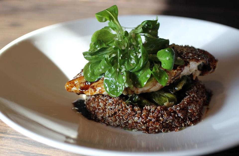 Pomegranate-glazed chicken with coconut quinoa at Abby Park in Milton.