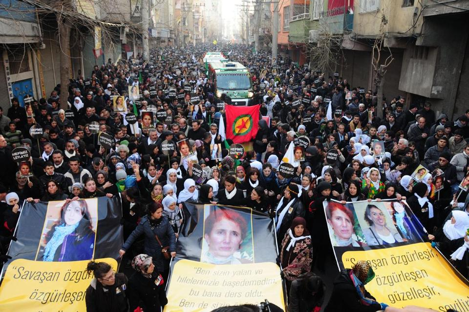 Up to 50,000 mourners turned out to honor three Kurdish activists who were shot to death in Paris last week.