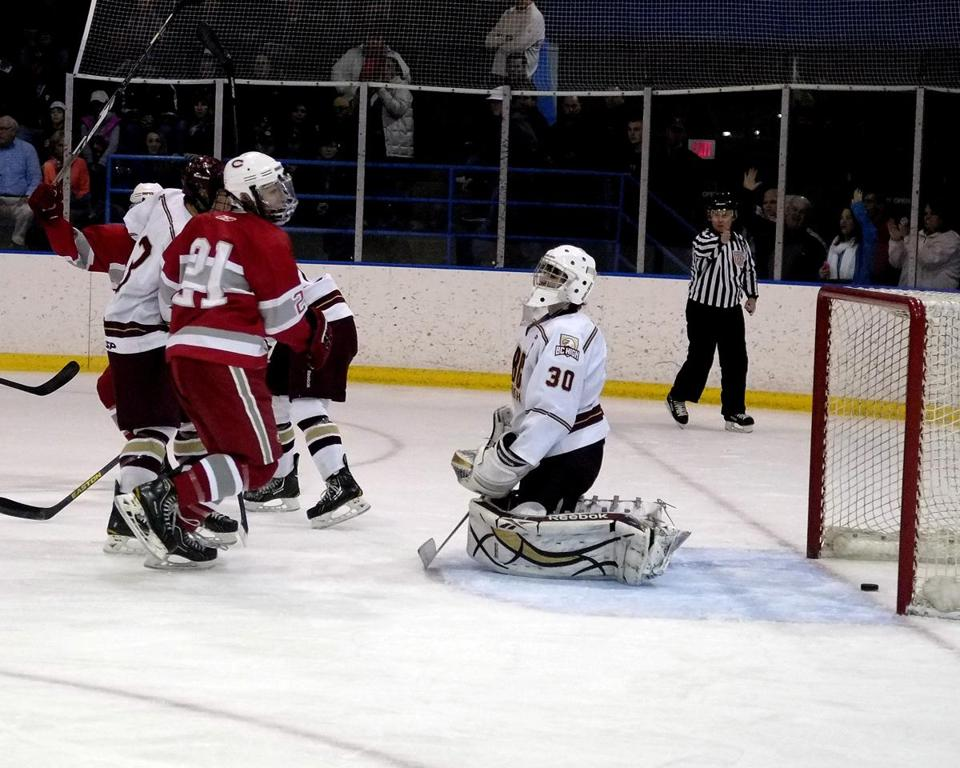 BC High goalie Peter Cronin let in a goal by Catholic Memorial just 11 seconds into the game, but none after.