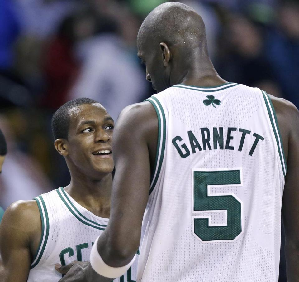 Kevin Garnett and Rajon Rondo will be joined in the starting lineup by three adversaries — Miami's Dwyane Wade and LeBron James, and Carmelo Anthony.