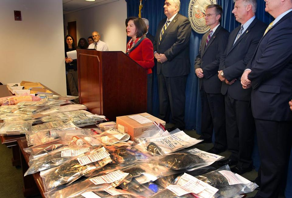 US Attorney Carmen Ortiz, the FBI, and members of other law enforcement agencies announced the arrests Thursday.