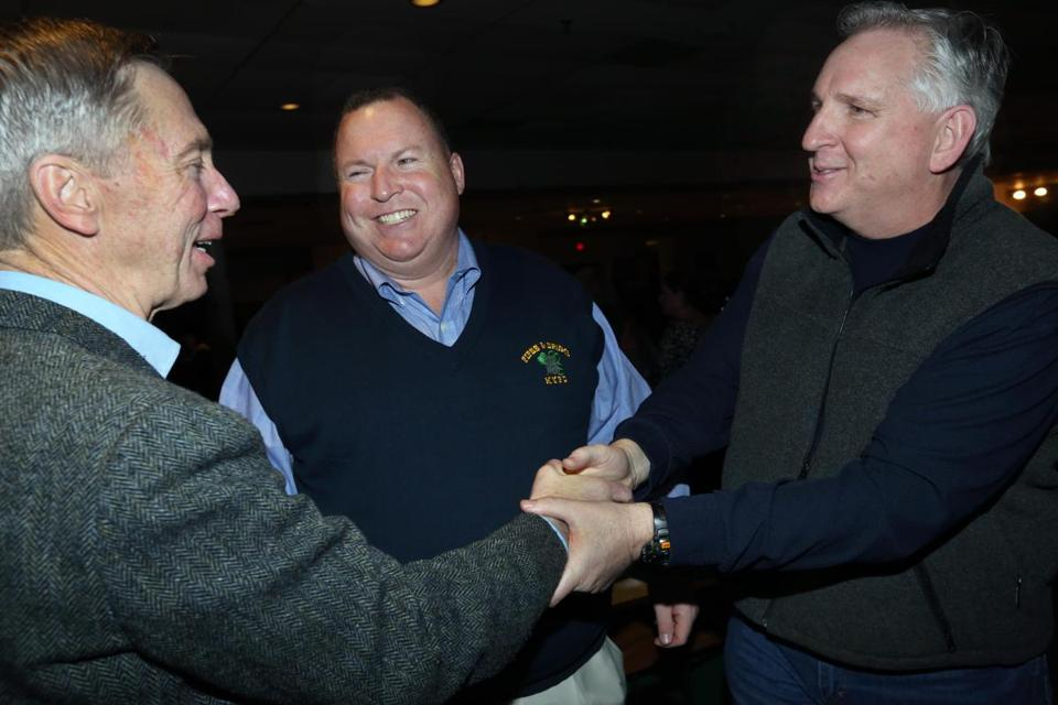 From left: Congressman Stephen Lynch of South Boston, NYPD Sergeant bandmaster Brian Coughlan, and Milton Police Chief Richard Wells.