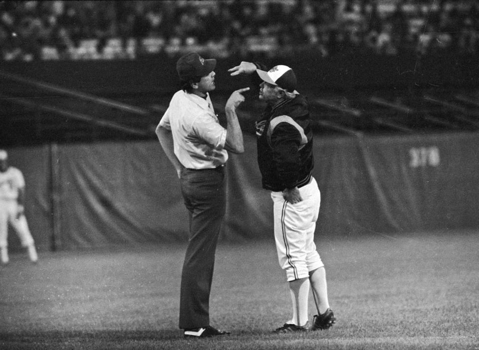 Earl Weaver disagreed with a call by Steve Palermo during a game in 1979. He also disagreed with being ejected again.