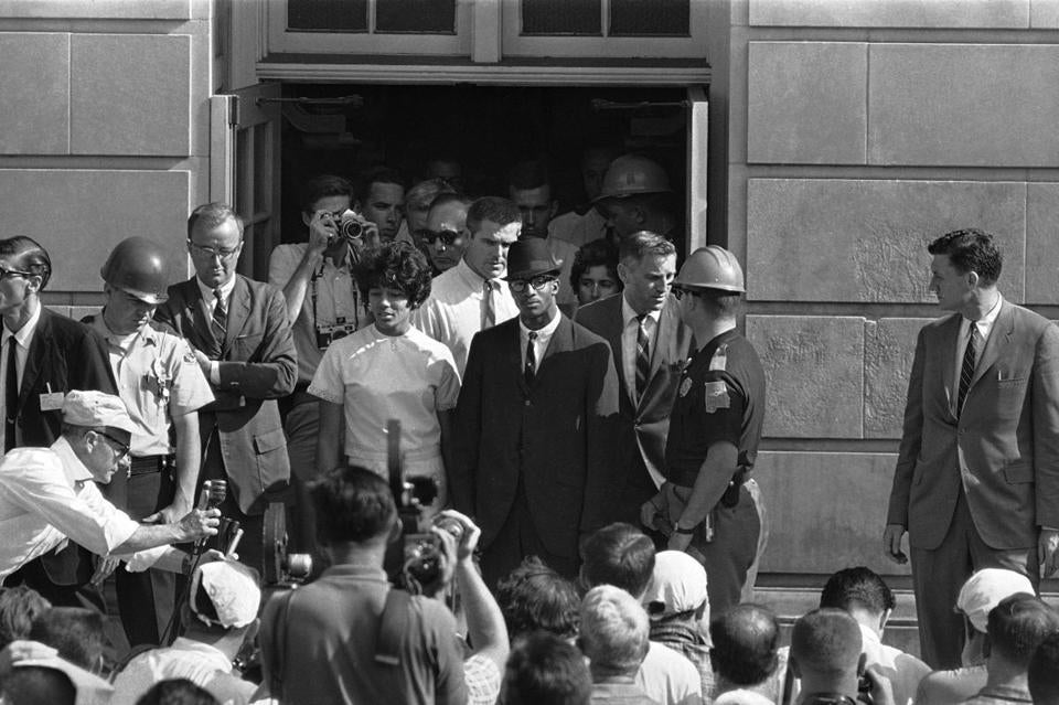 On June 11, 1963, Vivian Malone and James Hood exited after registering at the University of Alabama in Tuscaloosa.