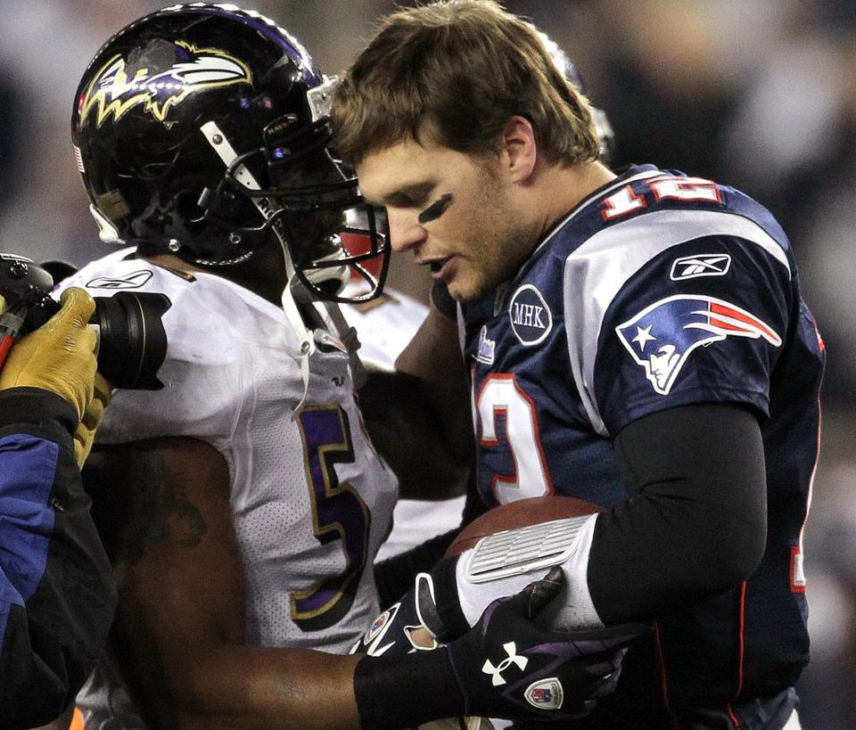 Since the merger in 1970, only seven times has there been an AFC or NFC title game involving the same two teams from the previous season. Ray Lewis and Tom Brady will face off again today.