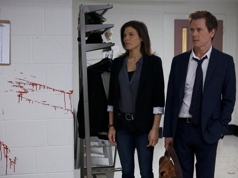 "Kevin Bacon (with Jeananne Goossen) in ""The Following.'' ""I did want to be the hero and I did want the hero to be complex and vulnerable, and I wanted it to be life and death,'' Bacon says of the type of role he was looking for in a TV series."