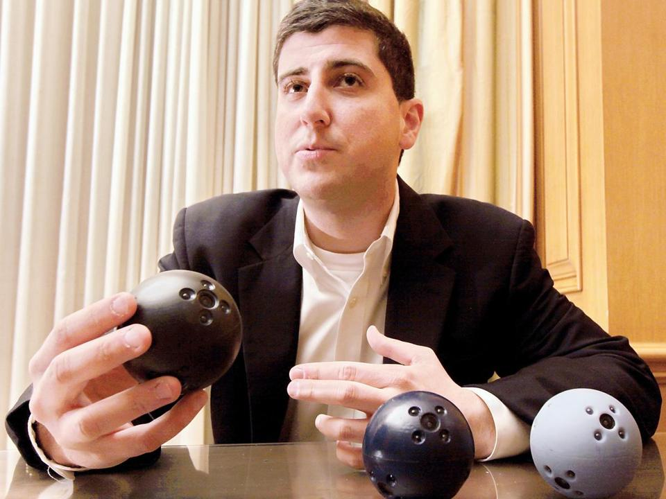 In addition to cameras, Francisco Aguilar's firm, Bounce Imaging, will provide room for other sensors in its ball-shaped surveillance devices.